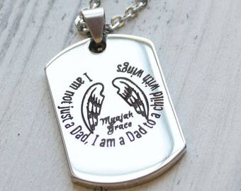 Dad to a Child with Wings Personalized Engraved Dog Tag Necklace