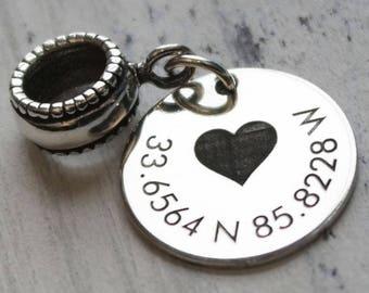 Personalized Latitude Longitude Charm Bead for Bracelet