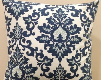 Weekend Sale Zipper Closure Cecilia Navy White Pillow Cover Decorative Throw Pillow 12x16,16x16, 18x18, 20x20