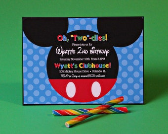 Mickey Mouse Clubhouse Invitation - INSTANT DOWNLOAD Mickey Invitation - Oh Twodles birthday party invitation by Printable Studio
