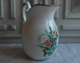 Vintage enamel floral jug, large vintage French 1930's, irises blue enamel authentic enamelware, antique country kitchen, classic design
