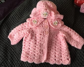 0-3 month baby girl pink crochet coat and hat or for reborn doll