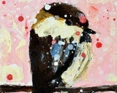 Brown Sparrow Bird Painting. Pink Cottage Chic Decor. Cute Office Decor. Mini Acrylic Animal Art. Bird Lover's Gift for Her. 93