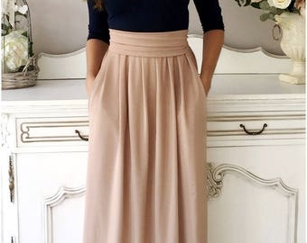 Navy Blue/Cappuccino Bridesmaid Party Maxi Dress 3/4 Sleeves With Pleats Round Neckline Pockets Sash