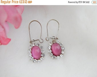 sale rose pink cluster earrings vintage 1950s - gifts for her