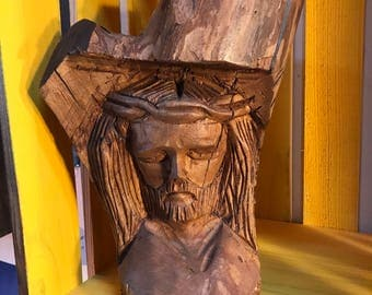 Carved Wood Jesus Bust