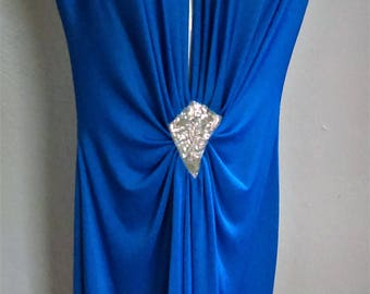 80s Deep V Disco Dress by Night Visionz California in Royal Blue