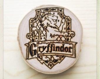 Made to order Harry Potter Gryffindor crest wood burned coaster