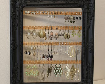 Custom Wall Mount Jewelry Organizer | Hanging Earring Organizer | Framed Earring Holder | Hanging Jewelry Organizer | Wall Jewelry Holder