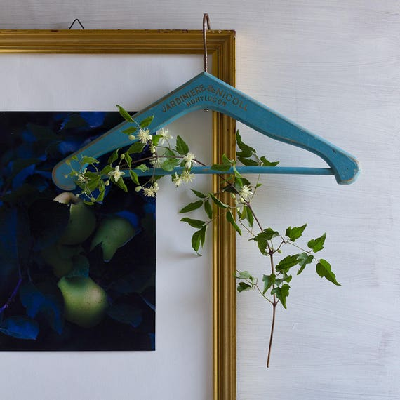 Vintage French Blue Wooden Hanger