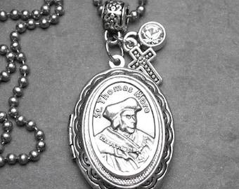Politicians Lawyers & Civil Servants Patron St. Thomas  More Catholic Holy Medal Locket Necklace, Catholic Gift