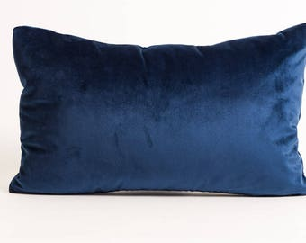 NEW! Blue Velvet Lumbar Pillow Cover, navy velvet pillow cover, sapphire blue pillow cover, blue velvet rectangle pillow, navy blue velvet
