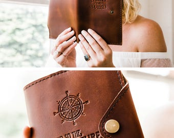 Huge SALE 50% OFF Refillable Leather Snap Journal... Compass- And So the Adventure Begins  -- Handmade in Portland, OR