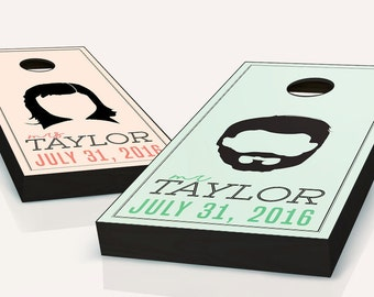 Wedding Hairstyles set Cornhole Boards With CUSTOM TEXT! 8 Bags You Pick Colors!!