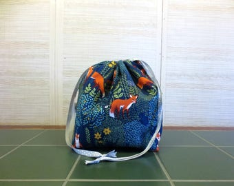 Into the Woods in Nite - Large Drawstring, Divided Knitting Project Bag, Crochet Bag, Sweater Project Bag, Knitting Organizer, Fox