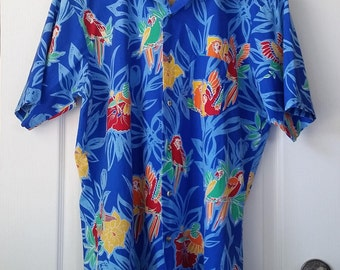 Hawaiian Shirt Men's XLT Big and Tall Tropical Birds Shirt Vintage Sovereign For the Tall Man Parrots and Hummingbirds Fabric Made in U.S.A.