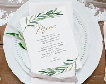Greenery Wedding Menu Template • Printable Menu • Vintage Florals Wedding • Botanical Wedding • Word or Pages • MAC or PC