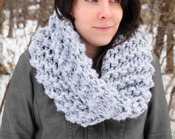 Outlander cowl, Hand knit cowl, gray cowl, grey cowl, snood scarf, gift for her, Christmas gift, Valentine's gift, accessories