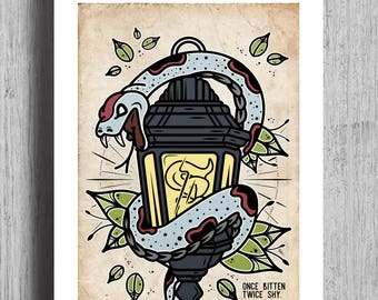 ONCE BITTEN Poster Print | Traditional Tattoo Flash | Traditional Tattoo | Wall Art |  House Art Decoration | Lantern | Snake Tattoo