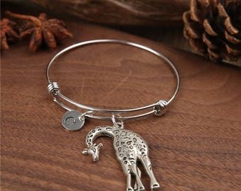 Giraffe Bangle, Giraffe Bracelet, Charm Bracelet, Adjustable Bangle, Expandable Personalized Bangle, initial bracelet, Birthstone bracelet