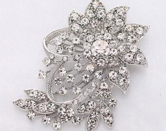 Crystal Rhinestone Brooch Wedding, Bridal Brooch, Diamante Broach, Bouquet Broaches, Silver Rhinestone Brooches, Dress Sash Brooch