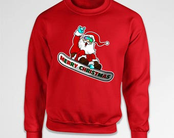 Funny Santa Sweater Christmas Gifts for Snowboarders Holiday Jumper Xmas Clothing Christmas Sweatshirt Hoodie Pullover Crewneck TEP-593