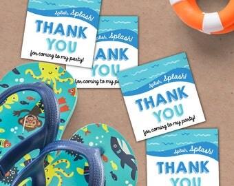 Splish Splash Thank You Tags. Pool Party Thank You Tags. 2.5x2.5 Thank You Tags *INSTANT DOWNLOAD*