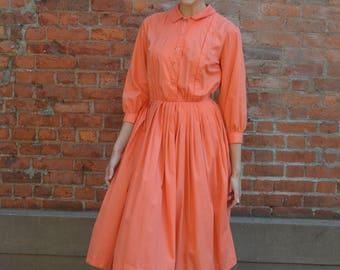 1950s Peach Cotton shirt dress | vintage 1950s dress | peach cotton 50s shirt dress
