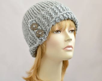 Gray Hand knitted hat, Gray Womens knit hat, Lucy Hat, Womens beanie, beanie for women, Winter hat, Knit beanie hat, Gray Womens hat
