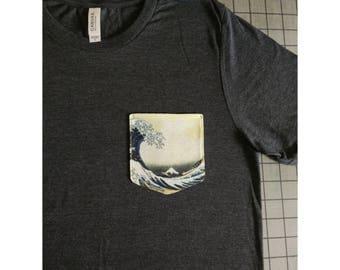 The Great Wave off Kanagawa Pocket Shirt (Katsushika Hokusai)