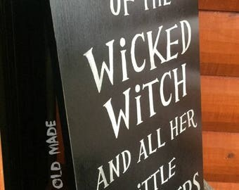 """Large Hand Painted """"Wicked Witch"""" Reclaimed Wood Halloween Sign"""