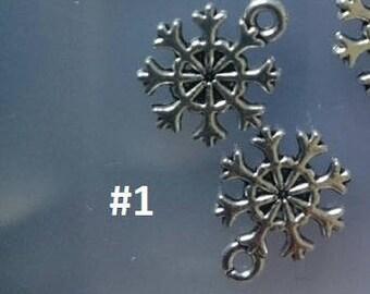 Set of 2 silver metal snowflake charms