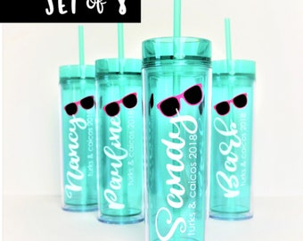 SET of 8 Vacation Tumbler // Girls Weekend Cup // Beach Cup // Pool Tumbler // Skinny Tumbler // Bachelorette Party Tumbler