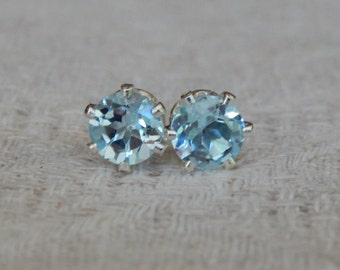 Sky Blue Topaz 6mm Studs, Sky Blue Topaz Stud Earrings, Blue Topaz Post Earrings, December Birthstone, Sky Blue Topaz, Topaz