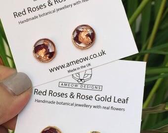 Rose gold earrings, real flower earrings, rose earrings, flower jewellery, resin jewellery, terrarium, botanical jewellery, wedding gift,