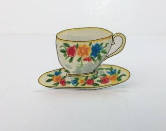 Vintage Style Tea Cup Brooch