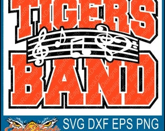 Tigers Band| Music Notes| SVG| DXF| EPS| Png| Cut File| Tigers| Band| Mom| Dad| Vector| Silhouette| Cricut| Digital Download