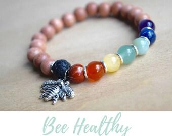 Silver Bee Bracelet / 7 chakras yoga, nature inspired, meditation bracelets, bee jewelry gift, 7 chakras bracelet, diffuser bracelets