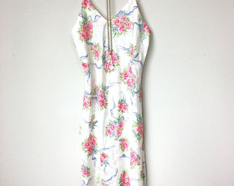 Vintage Roses Floral Slip Dress with Matching Kimono Robe, Pink, White, and Blue Night Gown, Boudoir Boho, Great Gatsby. Art Deco, Sleepwear
