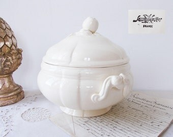 French White Ironstone Antique Soup Tureen with Lid stamped SARREGUEMINES in Perfect Condition