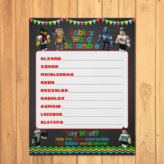Roblox Party Game Word Scramble Chalkboard - Roblox Party Game - Roblox World Scramble - Roblox Party Printables - Roblox Party Favors