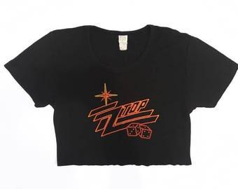 80s Vintage ZZ Top Tumbling Dice T Shirt Crop Top