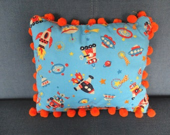 Pillow for boy with tassels. Blue cushion with pom poms - cushion with robots