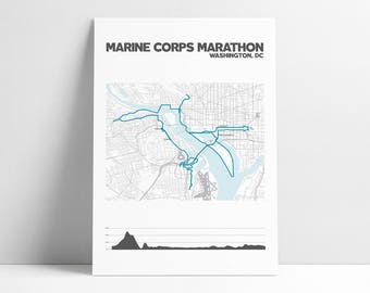Marine Corps Marathon Map Marathon Gift Marine Corps Marathon Marathon Map Marathon