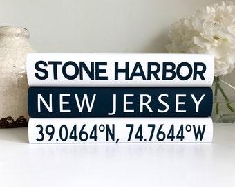 Personalized Custom Books Family, Coastal Decor, Coordinates Longitude Latitude, Housewarming Gift, Wedding Gift, Coffee Table Books