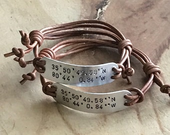 Coordinates bracelet leather location bracelet latitude longitude bracelet long distance gift couple coordinates location bracelet for men