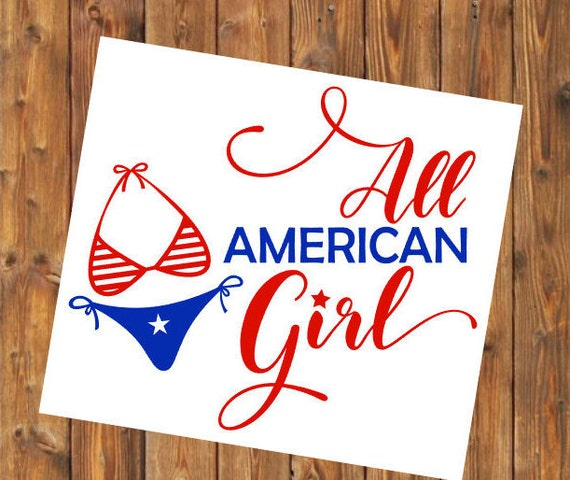 Free Shipping- Red White and Blue, All American Girl, American Made, USA, Veteran, Military Brat, Yeti RTIC SIC, Laptop Sticker Decal