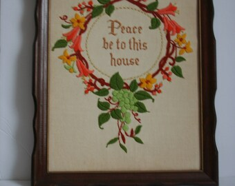 "VintageFramed Needlework, ""Peace be to this House"" / cross stitch Embroidery, boho, 1970s"