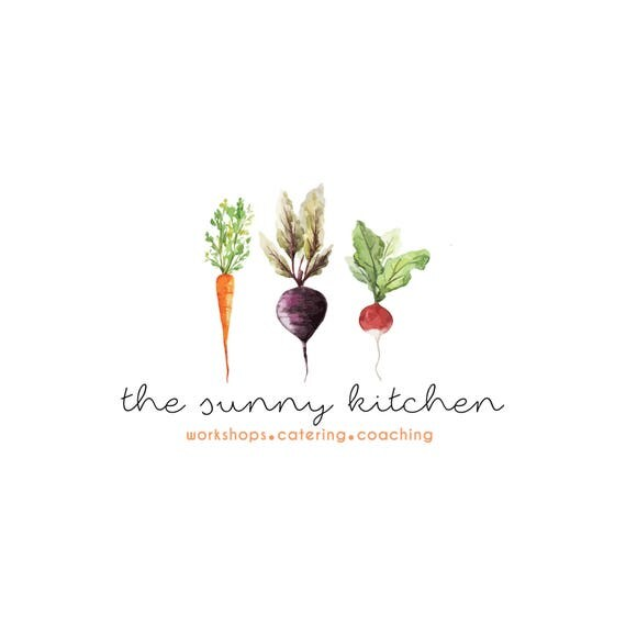 Pre-made Logo Design Watercolor Roots Vegetable Beet Carrot