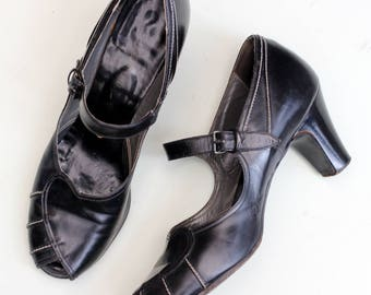 Vintage 1940s 40s black mary jane leather shoes white stitch detail UK 4 3.5 US 6.5 6 high heel pinup